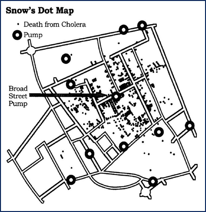 Figure 1: John Snow's death and pumps map, London 1854
